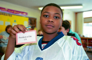 Student with a goal to be president of the US